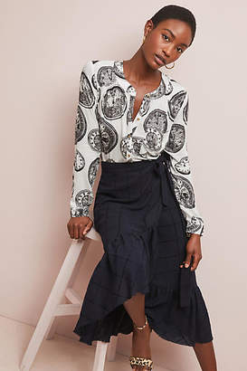 Anthropologie 52 Conversations by Colloquial Collarless Buttondown