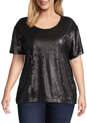 6c96bf2d774ec at JCPenney · WORTHINGTON Worthington Short Sleeve Sequin T-shirt - Plus
