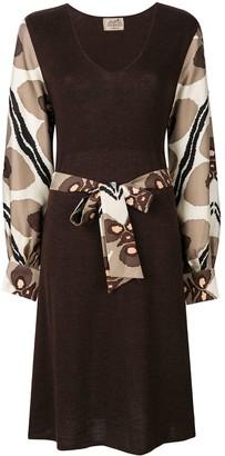 Hermes Pre-Owned printed sleeves belted dress