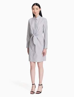 Calvin Klein striped tie-front shirt dress