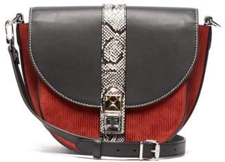 Proenza Schouler Ps11 Corduroy And Leather Medium Saddle Bag - Womens - Black Multi