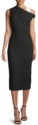 Narciso Rodriguez One-Shoulder Wool Midi Sheath Dress