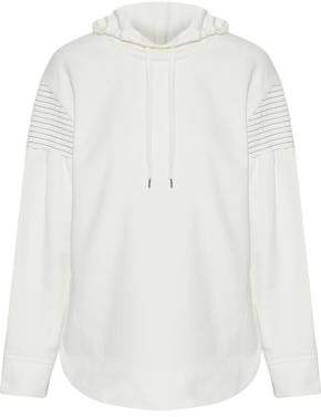 Shirred French Cotton-Terry Hooded Sweatshirt