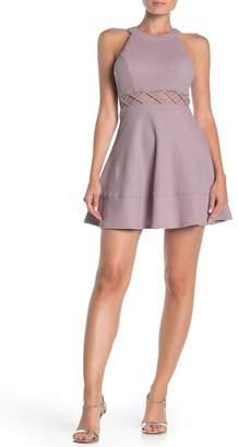Love, Nickie Lew Glitter X Mesh Waist Halter Skater Dress