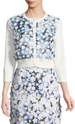 Karl Lagerfeld Paris Floral-Appliequé Button-Front Shrug