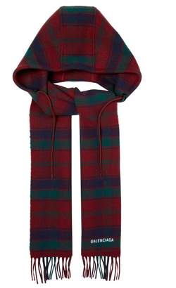 Balenciaga Hooded Wool Scarf - Womens - Burgundy