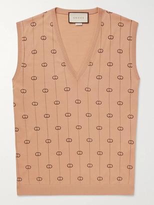 Gucci Logo-Jacquard Wool-Blend Sweater Vest