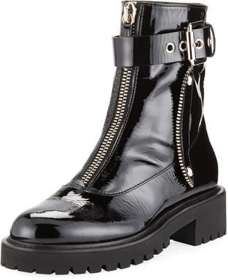 Giuseppe Zanotti Patent Leather Front-Zip Combat Boots