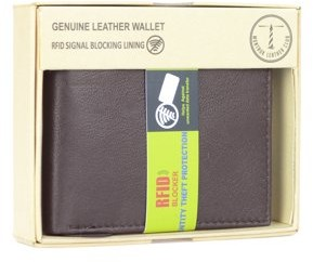 Montauk Leather Club Men's RFID Signal Blocking Genuine Leather Center Wing Bi-Fold Wallet with Gift Box