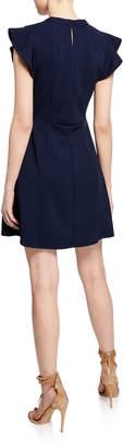 BCBGeneration Keyhole Crewneck Cap-Sleeve Mini Fit-&-Flare Dress