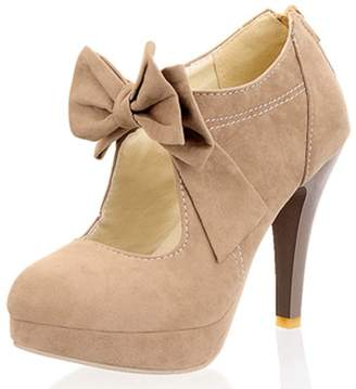 f93c9eb1c3f78 DoraTasia Women Cute Bowtie Sexy High Heels Platform Pumps with Apricot  Color Extra Size Shoes