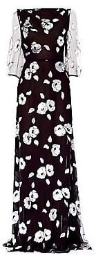 Carolina Herrera Women's Sheer Elbow Sleeve Floral Gown