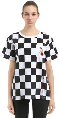Boxy Fit Checkered Cotton Jersey T-Shirt