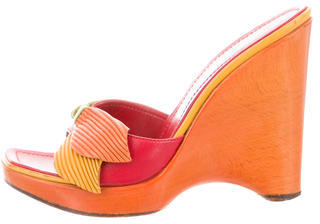 Casadei Leather Square-Toe Wedges $110 thestylecure.com