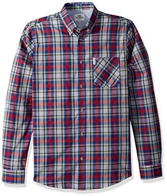 Ben Sherman Men's Long Sleeve Crepe Texture Check Shirt
