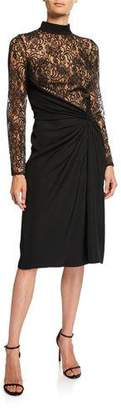 Tadashi Shoji Mock-Neck Long-Sleeve Dress w/ Lace Bodice & Ruched Crepe Skirt