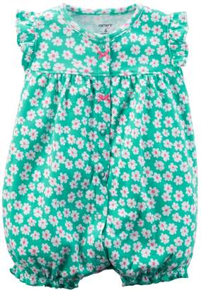 Carter's Baby Girl Floral Pattern Ruffle Back Snap-Up Romper