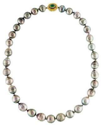 Elizabeth Locke 18K Pearl & Emerald Bead Strand Necklace