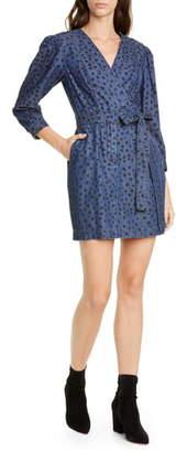 Rebecca Taylor Faune Faux Wrap Denim Dress
