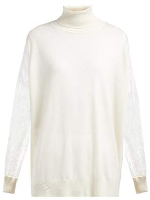 Roche Ryan Lace Sleeve Roll Neck Cashmere Sweater - Womens - White