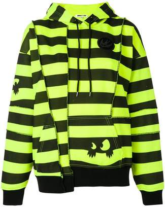 McQ striped deconstructed panel hoodie