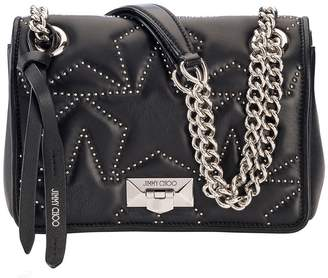 e6b1f928fbe Jimmy Choo HELIA SHOULDER BAG S Black Nappa Shoulder Bag with Studs and  Silver Chain