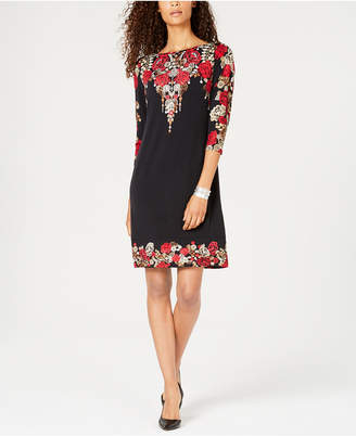 JM Collection Placed-Print Embellished Shift Dress, Created for Macy's