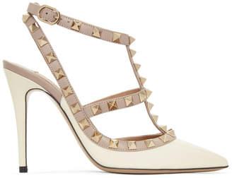 Valentino Off-White Garavani Patent Rockstud Cage Heels
