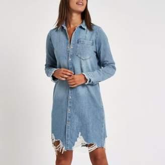 River Island Womens Blue ripped denim shirt dress