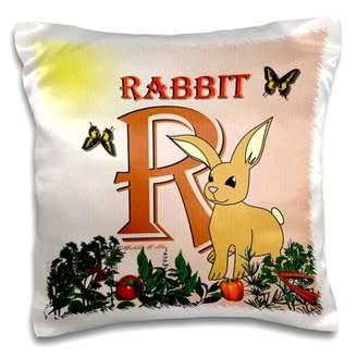 3dRose Decorative Animal Alphabet Art for children - R is for a Rabbit in the vegetable garden - Pillow Case, 16 by 16-inch