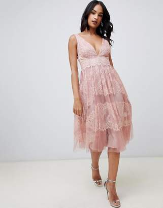 Asos DESIGN midi dress in mesh with delicate lace panels