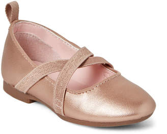 Osh Kosh B'gosh (Toddler Girls) Rose Gold Flora Metallic Ballet Flats