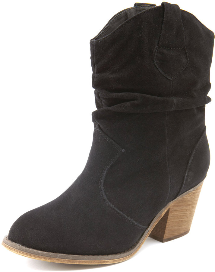 Sueded Cowboy Ankle Boot