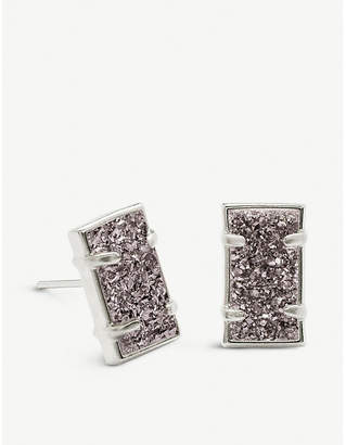 Kendra Scott Paola rhodium-plated brass and platinum drusy earrings
