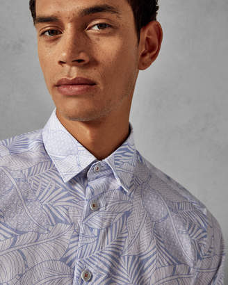 Ted Baker WHITTLE Leaf print cotton shirt