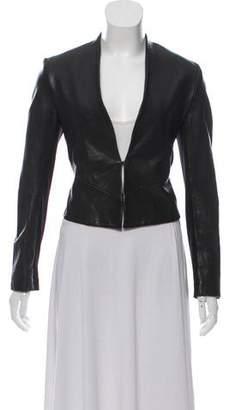 Alice + Olivia Collarless Leather Jacket