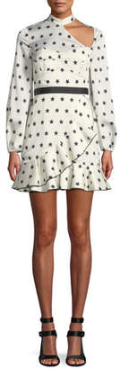 Self-Portrait Long-Sleeve Satin Star-Print Frill Mini Cocktail Dress