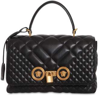Versace Quilted Leather Medium Top Handle Bag