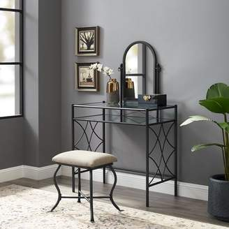 Mainstays Metal and Glass Vanity with Shelf and Upholstered Stool, Dark Bronze Finish