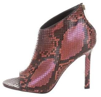 Tamara Mellon Python Peep-Toe Ankle Boots