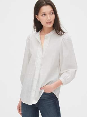 Gap Puff Sleeve Textured Pattern Pintuck Shirt
