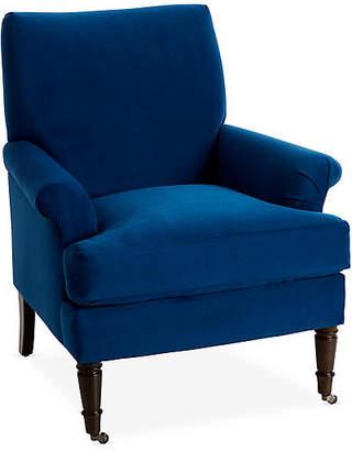 One Kings Lane Avery Roll-Arm Accent Chair - Royal Blue Velvet