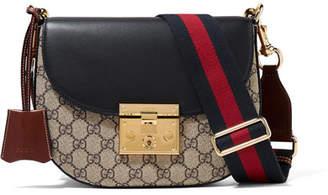 Gucci Padlock Saddle Medium Leather-trimmed Coated-canvas Shoulder Bag - Beige