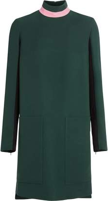 Burberry Two-tone Silk Wool Shift Dress