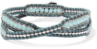 Chan Luu Crystal-embellished Leather Wrap Bracelet - Blue