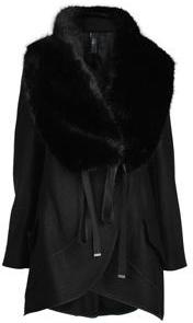 High Wool Faux Fur Collar Coat
