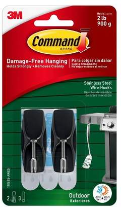 Command Outdoor Stainless Steel Wire Hooks with Foam Strips (2 Hooks 3 Strips)
