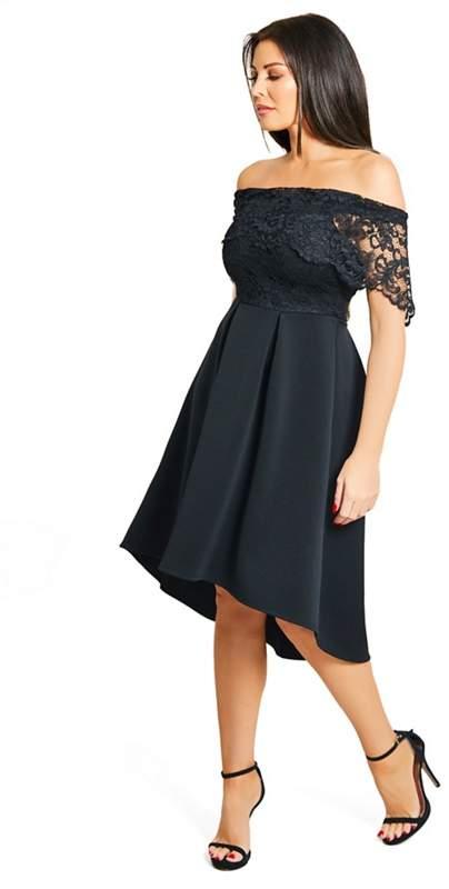 Sistaglam Love Jessica - Petite Black 'Liah' Lace Bodice Bardot High Low Skater Dress