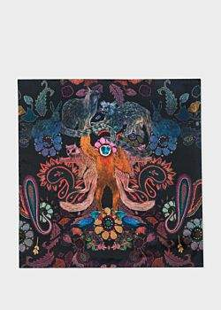 Men's Black 'Monkey' Print Silk Pocket Square