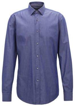 BOSS Hugo Slim-fit shirt in denim-inspired stretch twill 14.5 Dark Blue